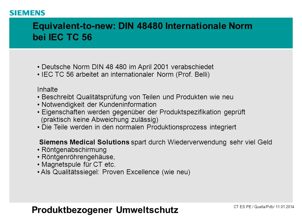 Equivalent-to-new: DIN Internationale Norm bei IEC TC 56