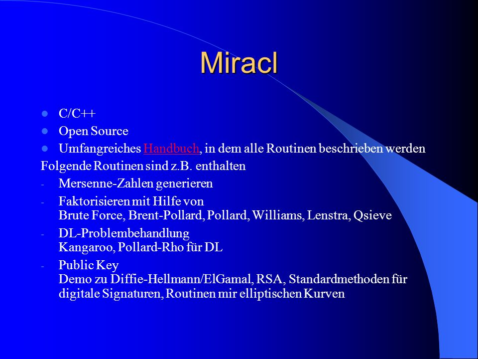 Miracl C/C++ Open Source