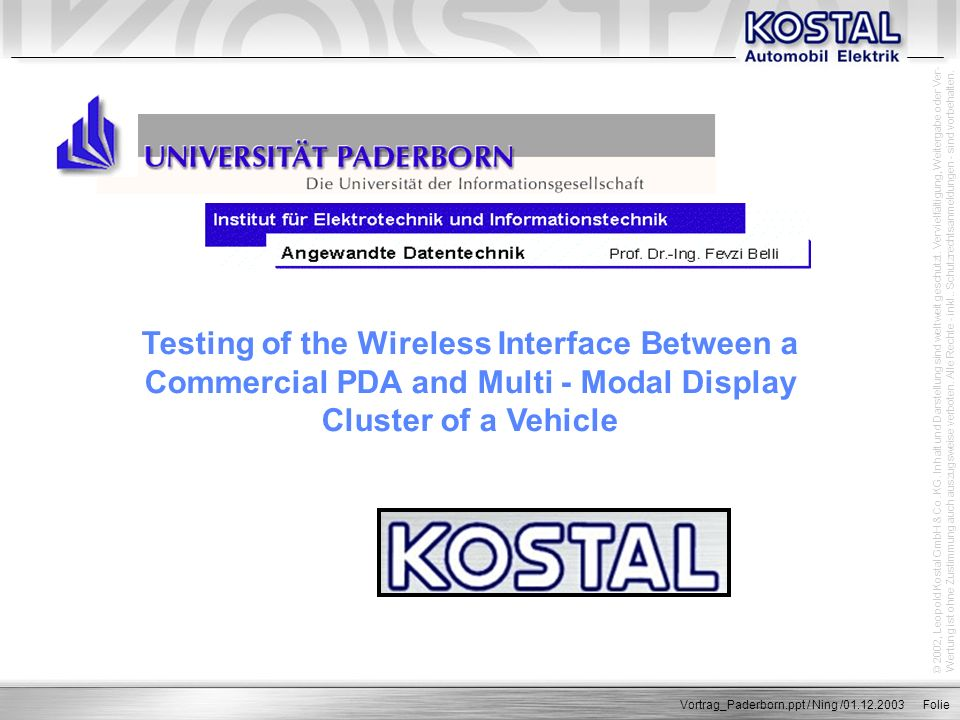 Testing of the Wireless Interface Between a Commercial PDA and Multi - Modal Display Cluster of a Vehicle