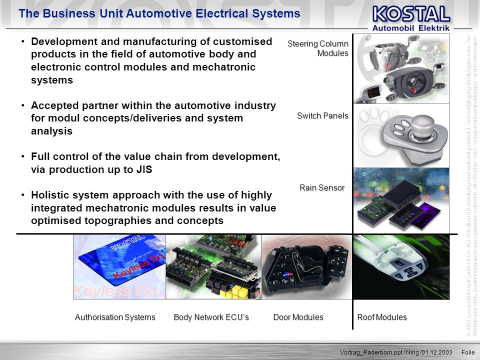 The Business Unit Automotive Electrical Systems
