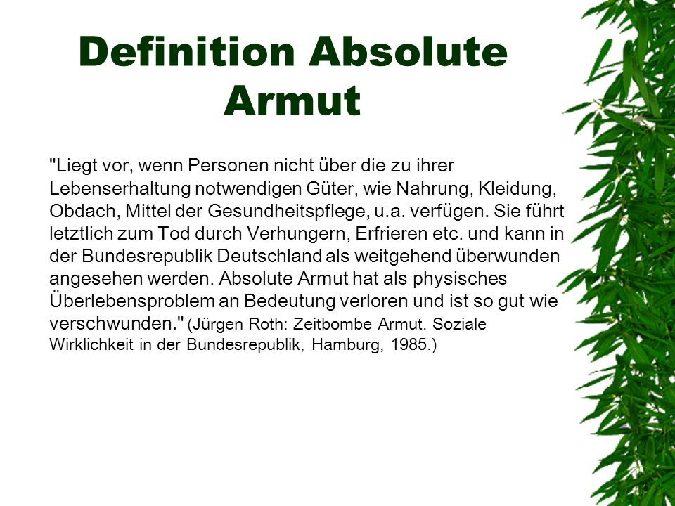 Definition Absolute Armut