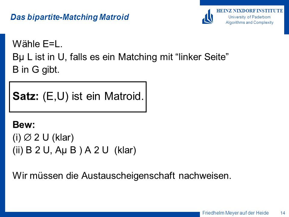 Das bipartite-Matching Matroid