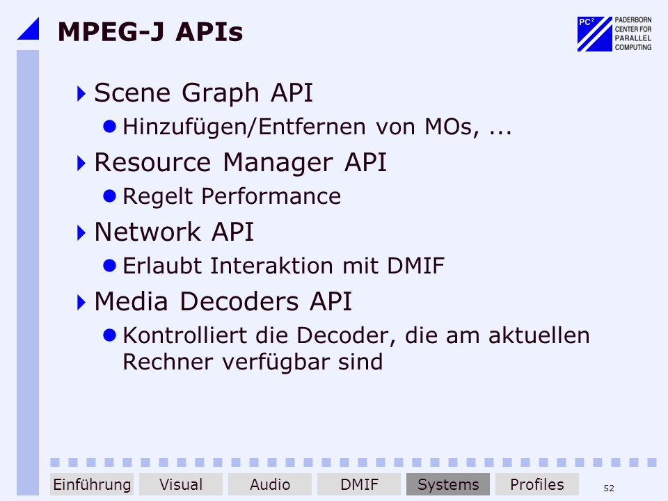 MPEG-J APIs Scene Graph API Resource Manager API Network API