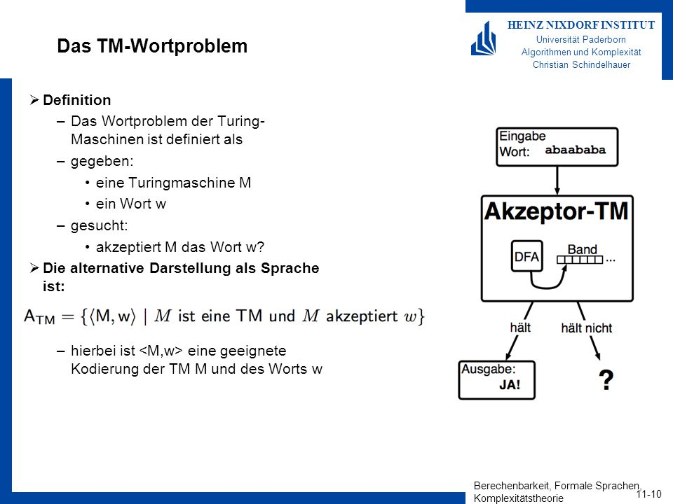 Das TM-Wortproblem Definition
