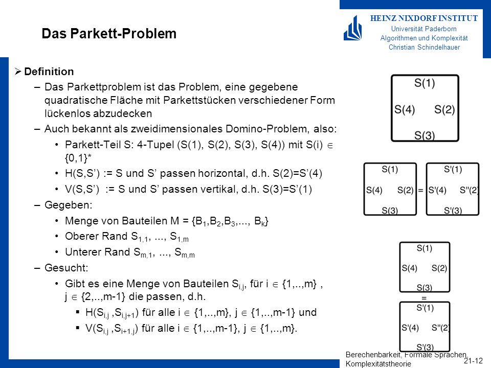 Das Parkett-Problem Definition