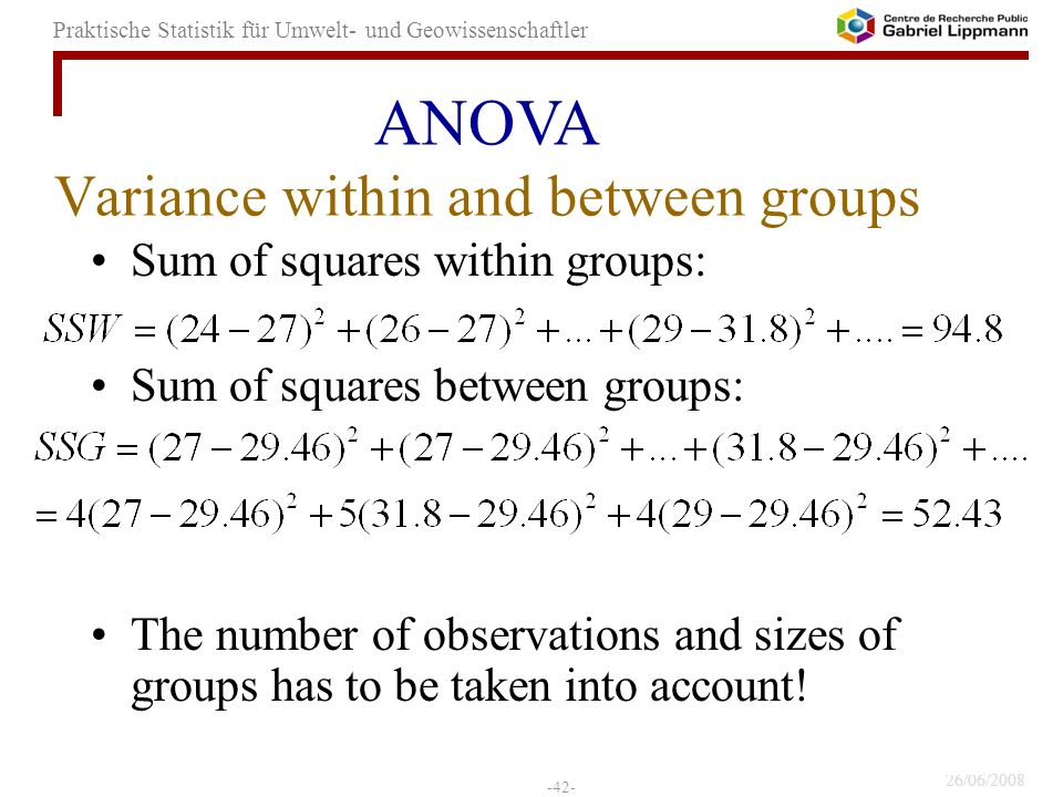 Variance within and between groups