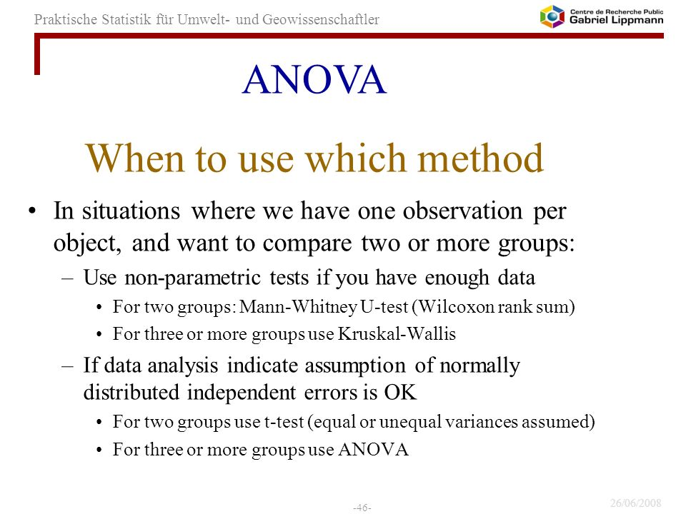 When to use which method
