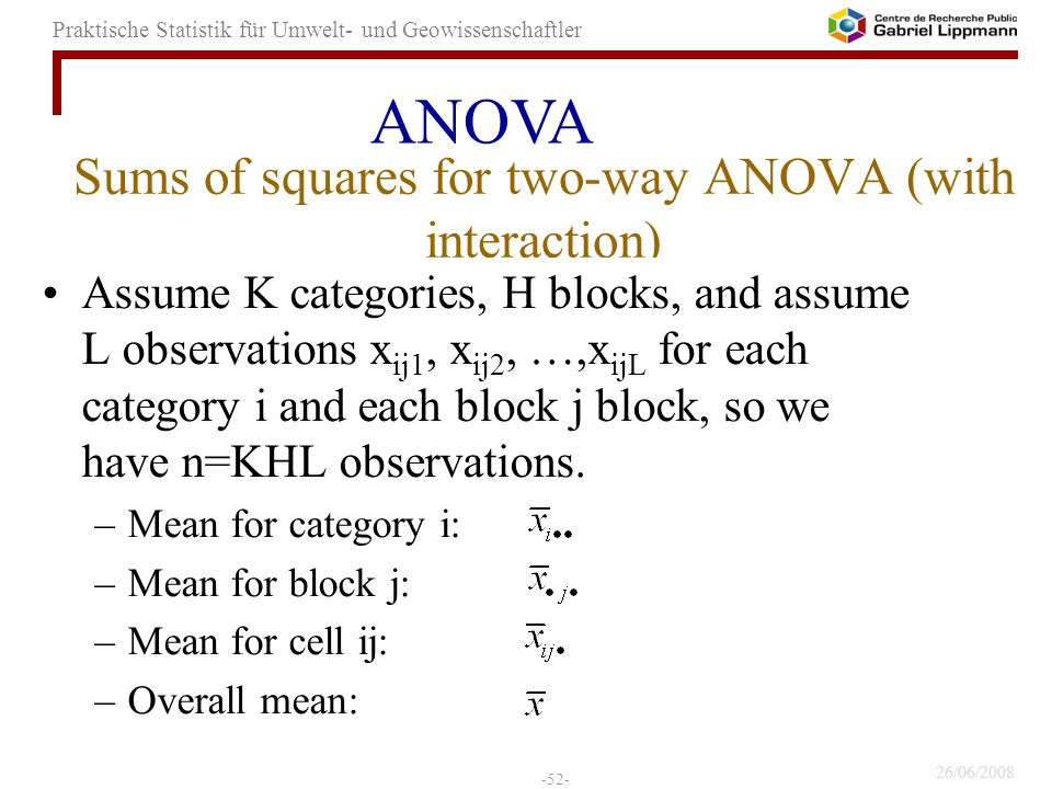 Sums of squares for two-way ANOVA (with interaction)