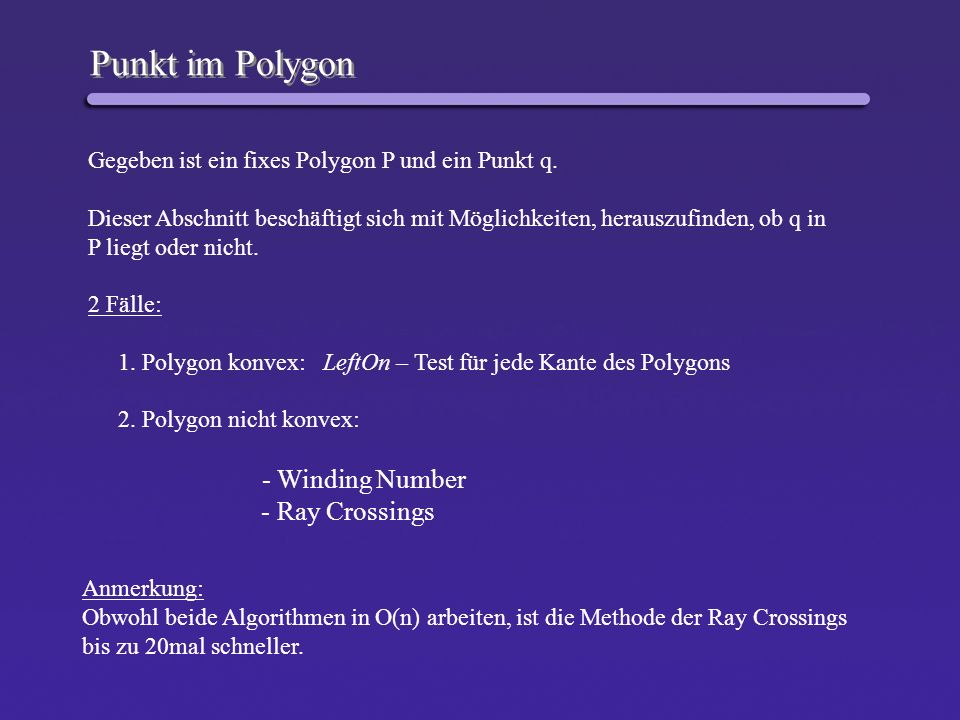 Punkt im Polygon - Ray Crossings