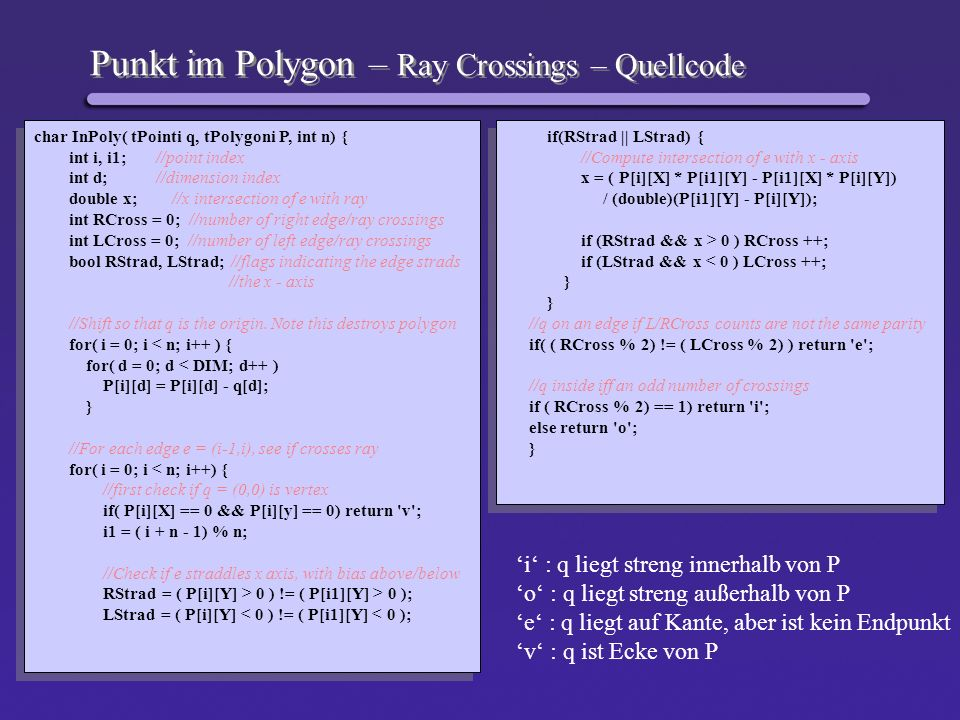 Punkt im Polygon – Ray Crossings – Quellcode