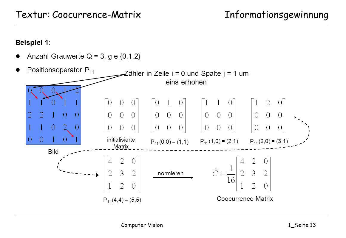 Textur: Coocurrence-Matrix