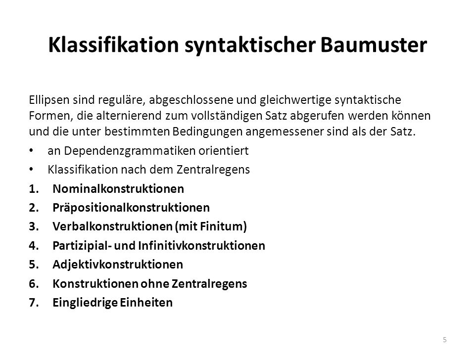 Klassifikation syntaktischer Baumuster