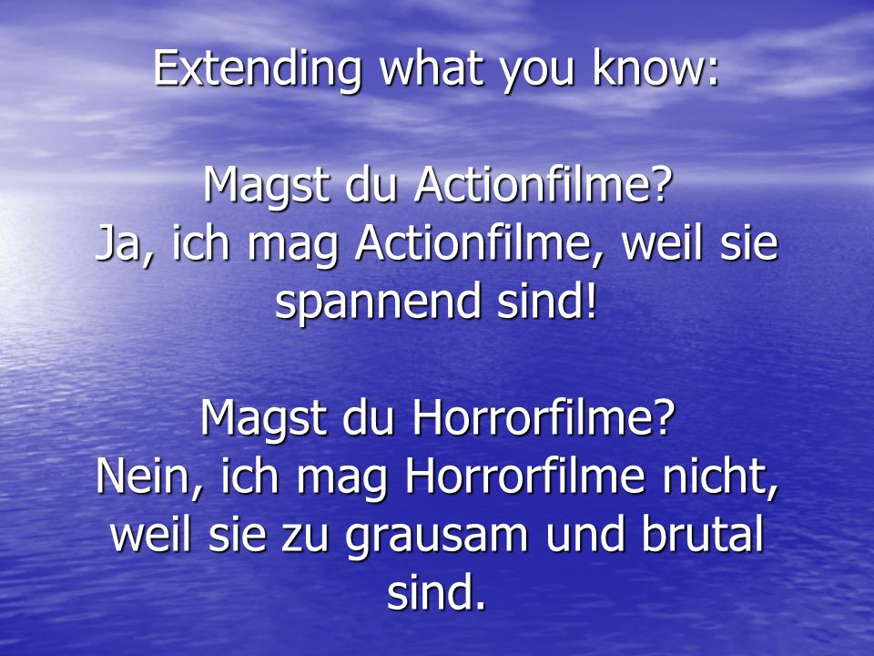 Extending what you know: Magst du Actionfilme