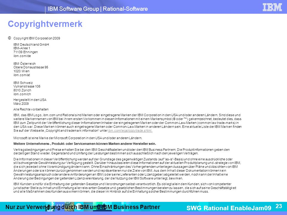Copyrightvermerk © Copyright IBM Corporation 2009