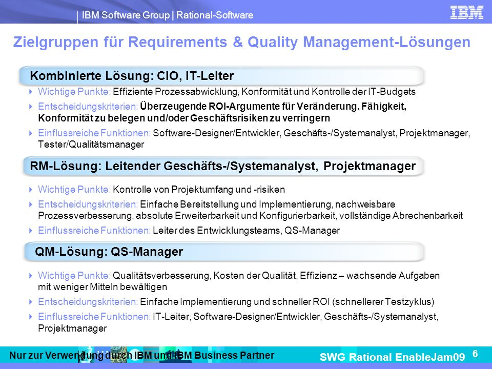 Zielgruppen für Requirements & Quality Management-Lösungen
