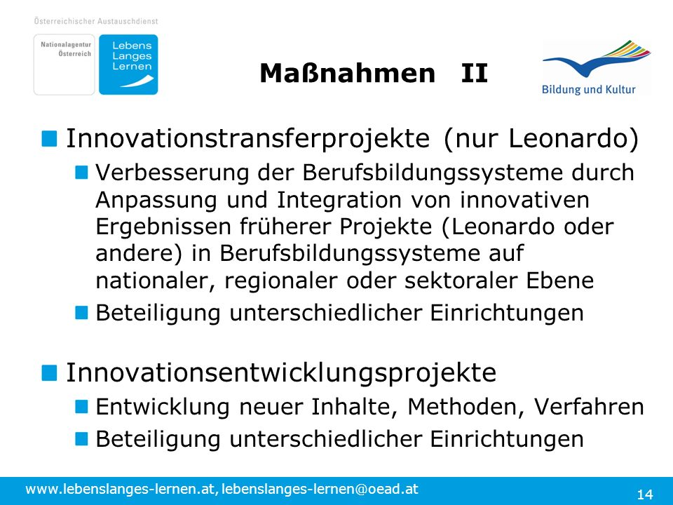 Innovationstransferprojekte (nur Leonardo)