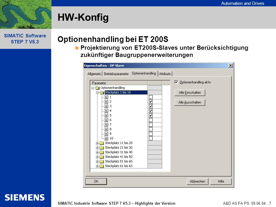 HW-Konfig Optionenhandling bei ET 200S