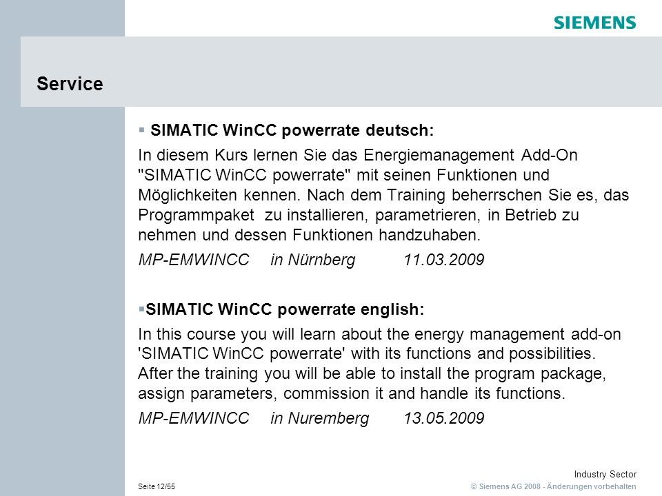 Service SIMATIC WinCC powerrate deutsch: