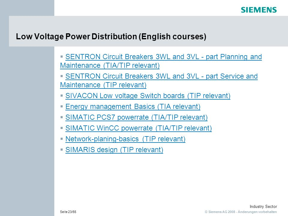 Low Voltage Power Distribution (English courses)