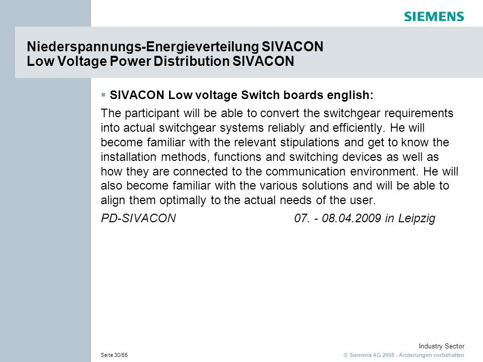 Niederspannungs-Energieverteilung SIVACON Low Voltage Power Distribution SIVACON