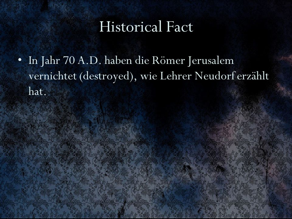 Historical Fact In Jahr 70 A.D.