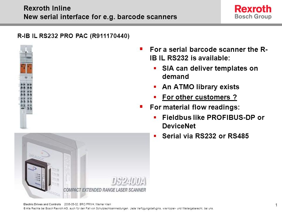 Rexroth Inline New serial interface for e.g. barcode scanners