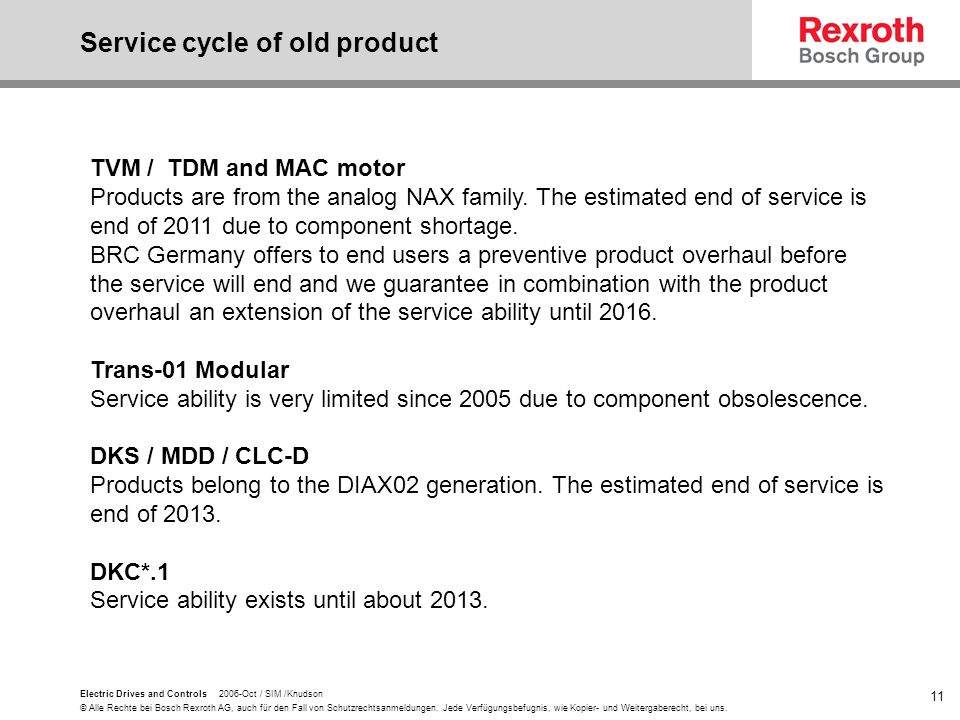 Service cycle of old product