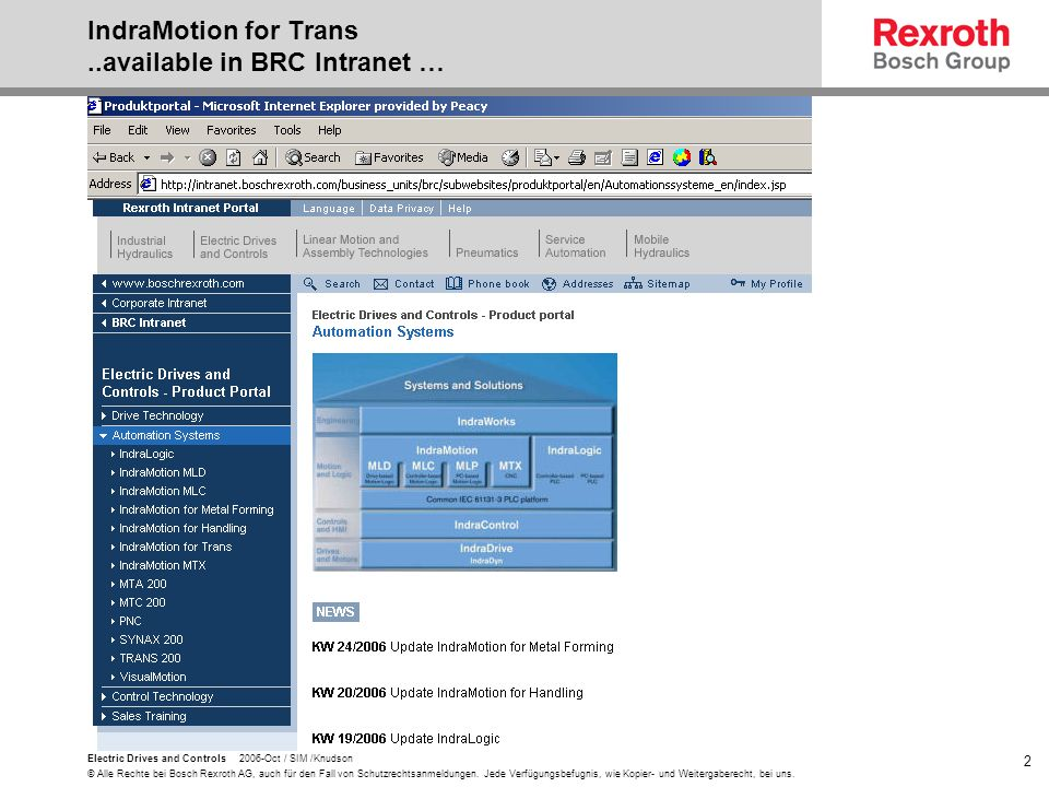 IndraMotion for Trans ..available in BRC Intranet …