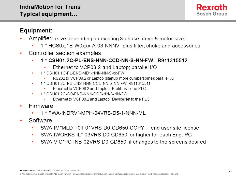 IndraMotion for Trans Typical equipment…