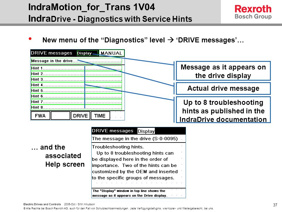 IndraMotion_for_Trans 1V04 IndraDrive - Diagnostics with Service Hints