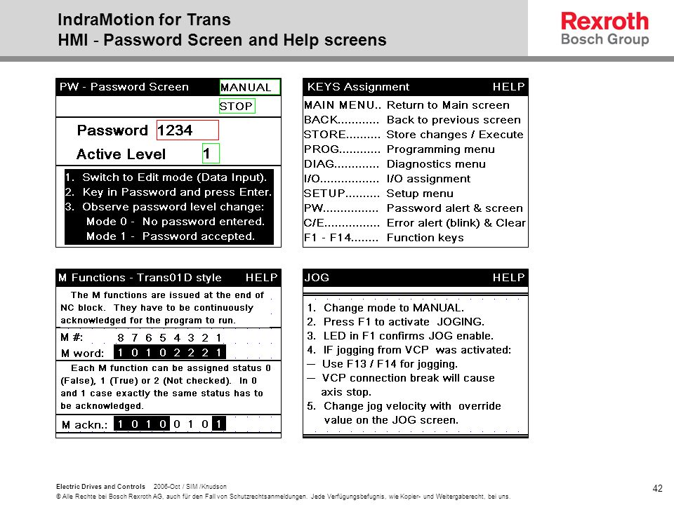 IndraMotion for Trans HMI - Password Screen and Help screens