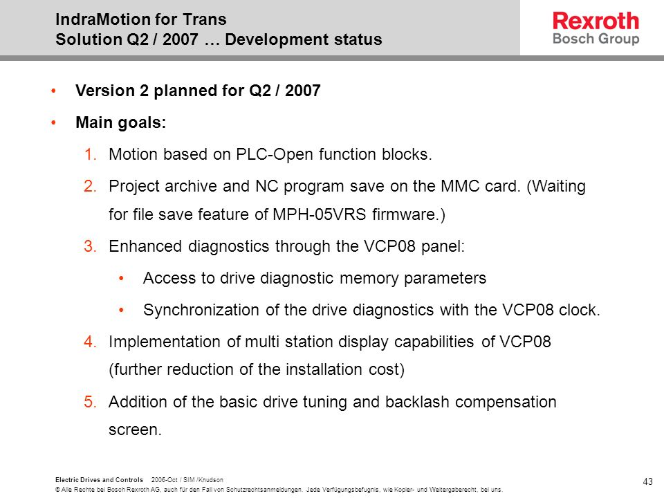 IndraMotion for Trans Solution Q2 / 2007 … Development status