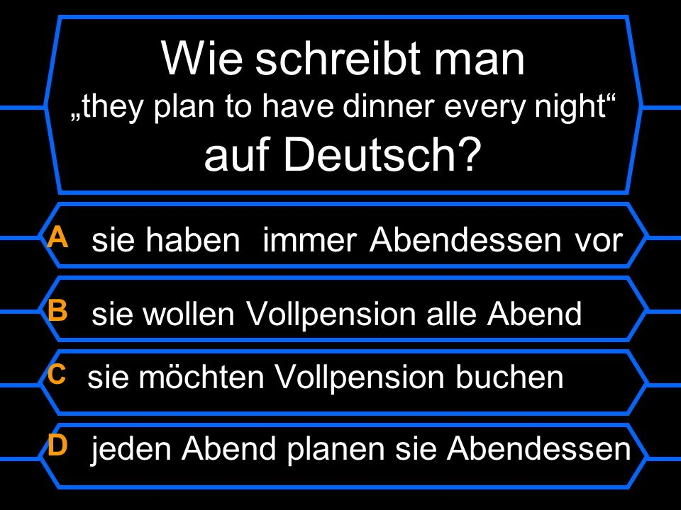"Wie schreibt man ""they plan to have dinner every night auf Deutsch"