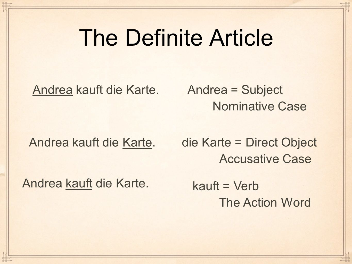 The Definite Article Andrea kauft die Karte. Andrea = Subject