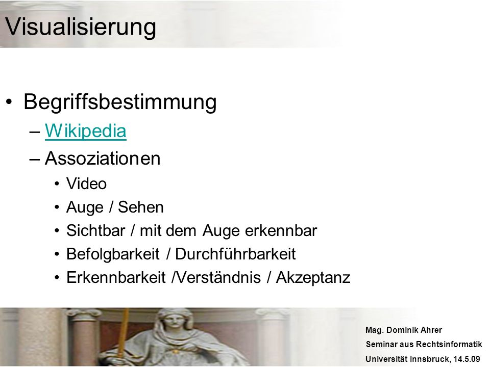 Visualisierung Begriffsbestimmung Wikipedia Assoziationen Video