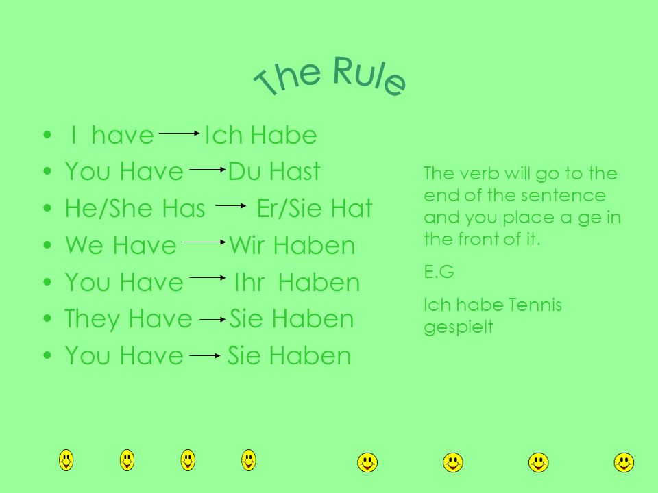 The Rule I have Ich Habe You Have Du Hast He/She Has Er/Sie Hat