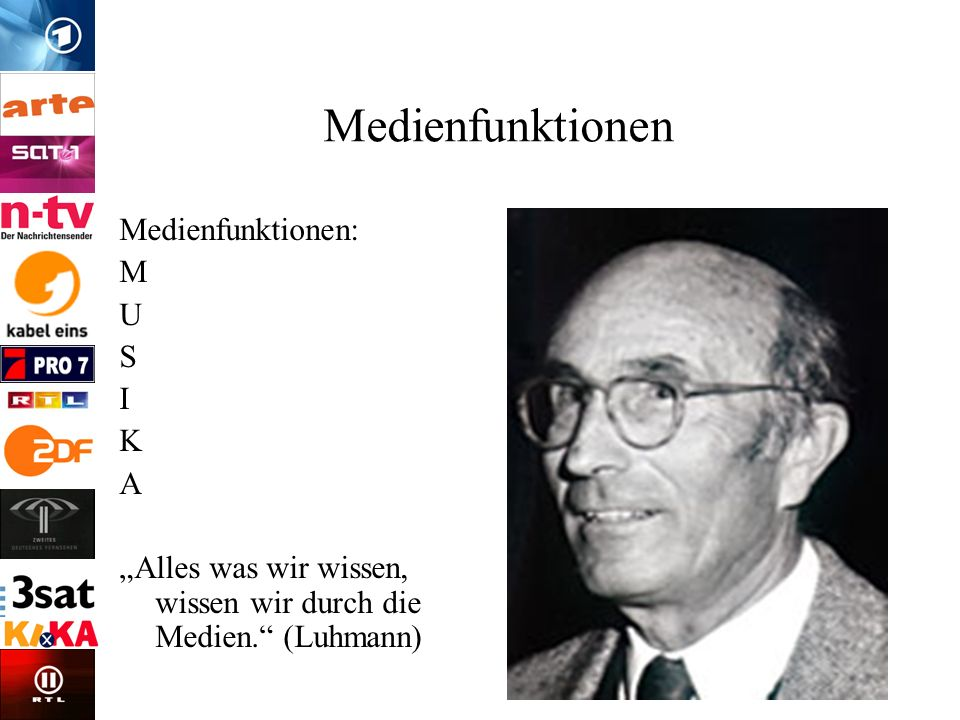 Medienfunktionen Medienfunktionen: M U S I K A