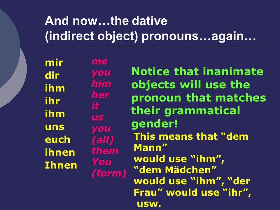 And now…the dative (indirect object) pronouns…again…
