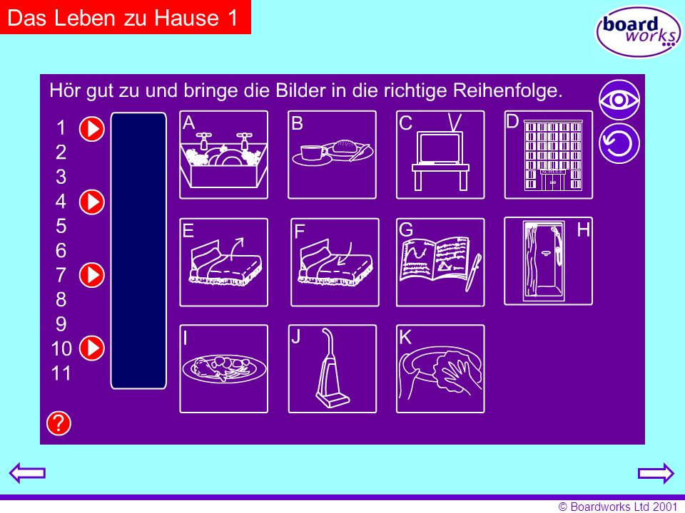 Das Leben zu Hause 1 Pupils listen and put the pictures into the correct order. Click on the eye to reveal answers and the arrow to restart.