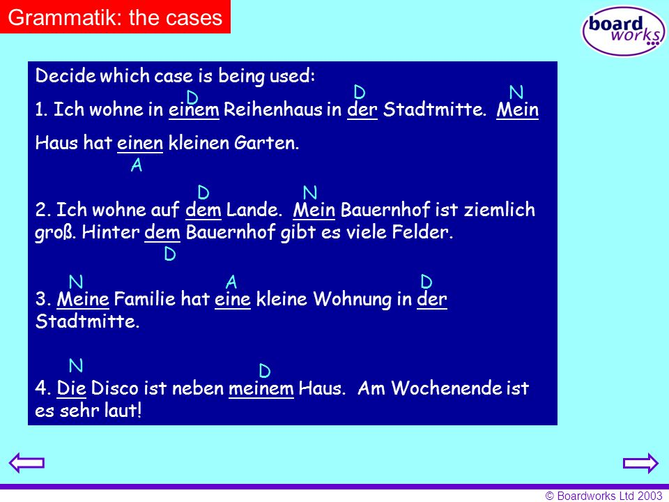 Grammatik: the cases Decide which case is being used: