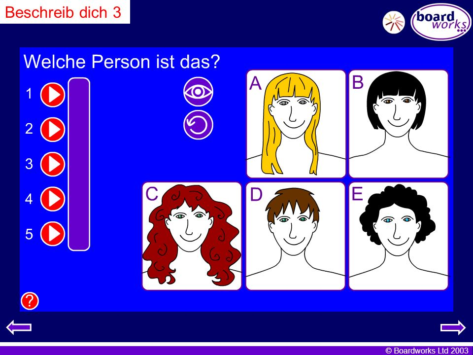 Beschreib dich 3 Pupils match spoken text (1-5) to images. Click on the eye to reveal answers, and the arrow to restart.