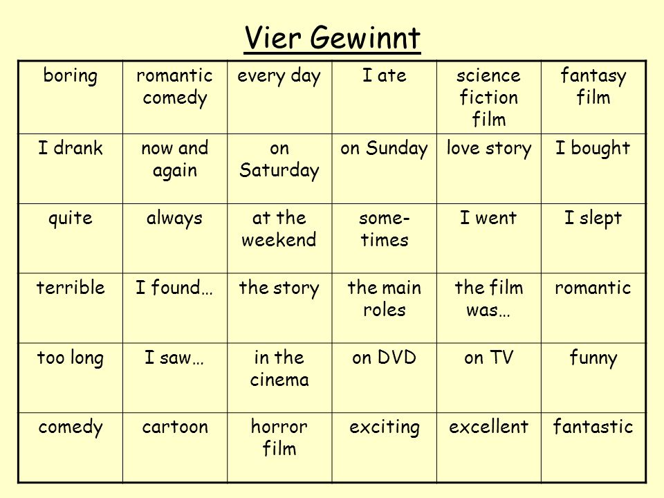 Vier Gewinnt boring romantic comedy every day I ate