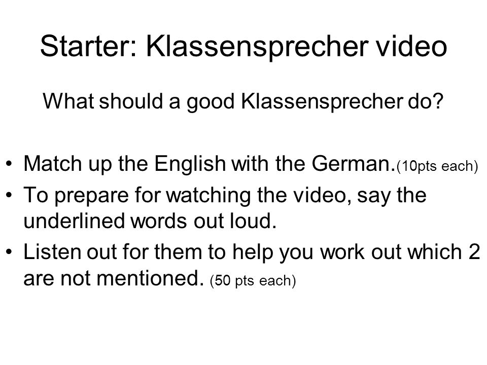 Starter: Klassensprecher video