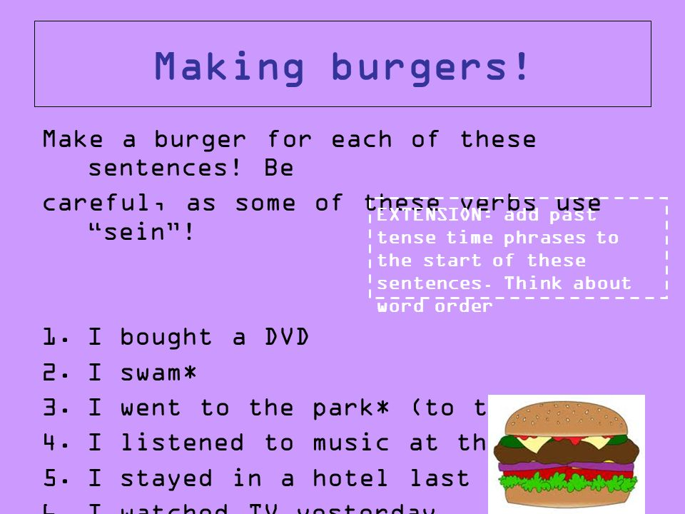 Making burgers! Make a burger for each of these sentences! Be