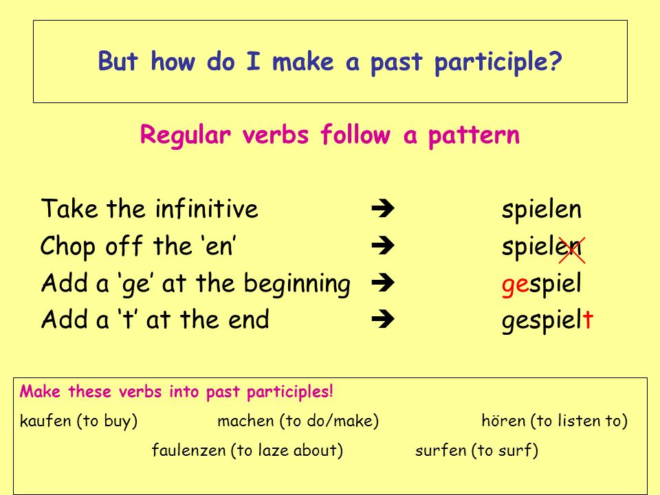 But how do I make a past participle