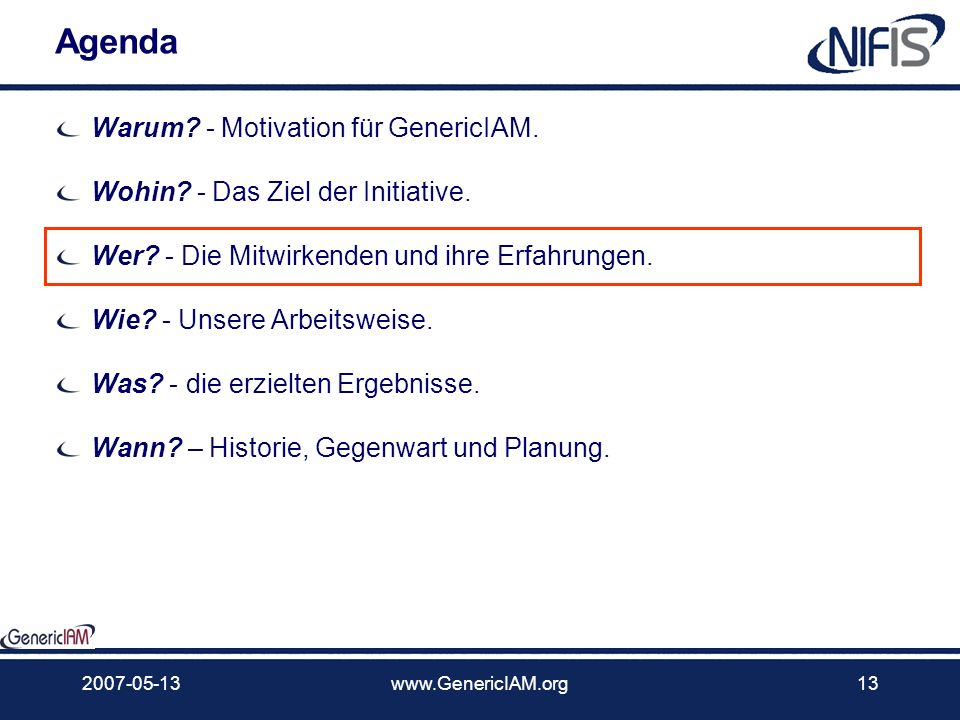 Agenda Warum - Motivation für GenericIAM.