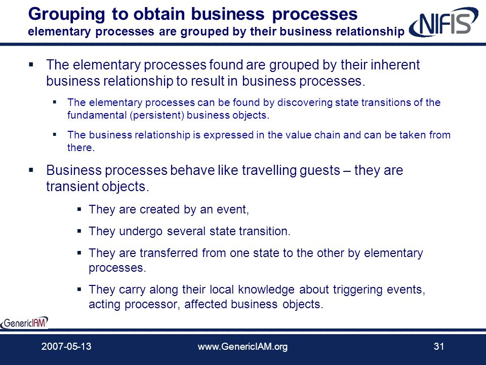 Grouping to obtain business processes elementary processes are grouped by their business relationship