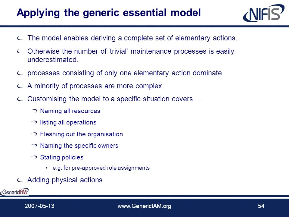 Applying the generic essential model
