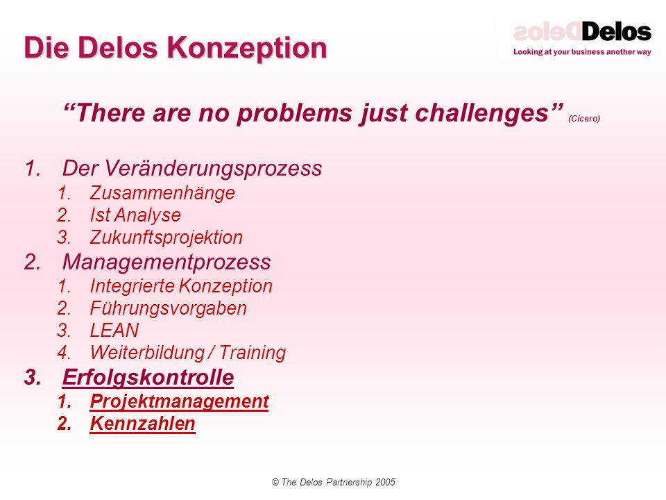 Die Delos Konzeption There are no problems just challenges (Cicero)