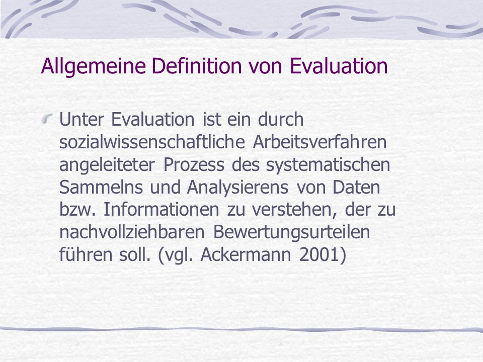 Allgemeine Definition von Evaluation